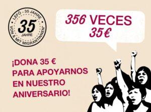 Dona 35 € para apoyarnos en nuestro aniversario